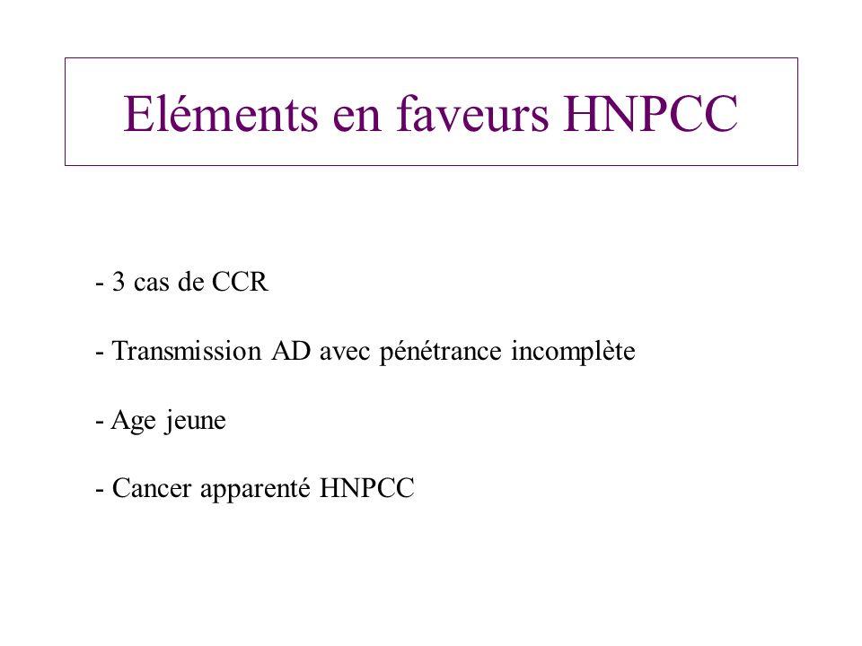 Eléments en faveurs HNPCC