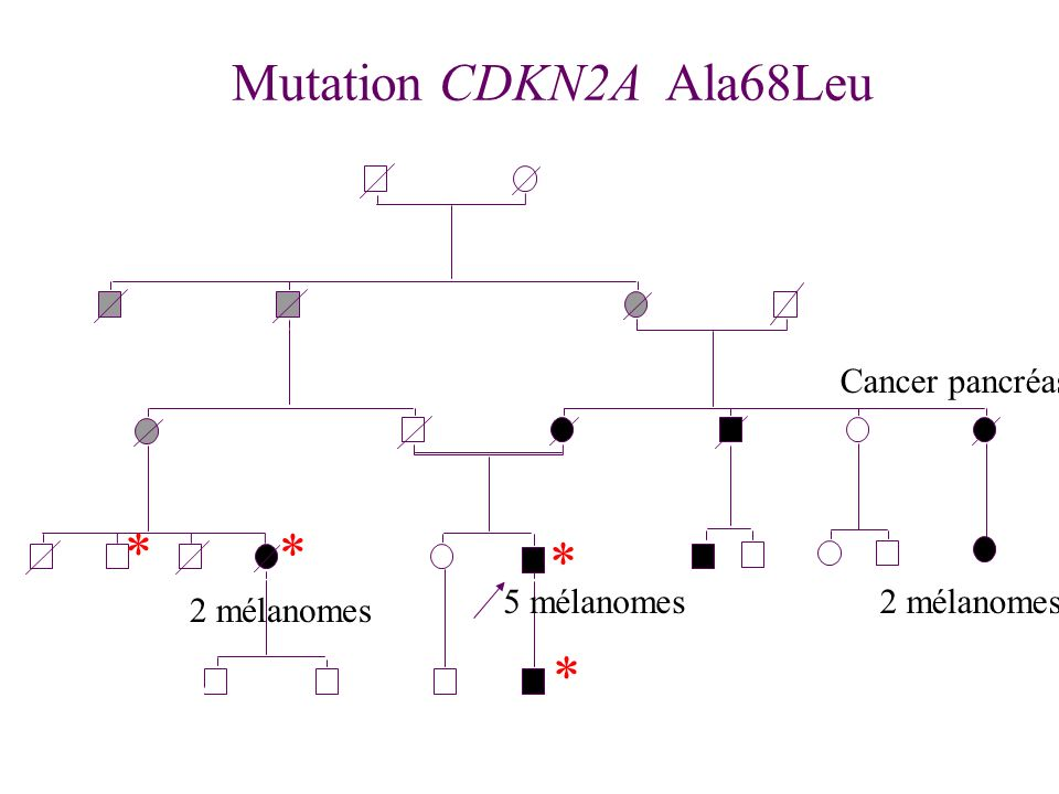 - * * * * Mutation CDKN2A Ala68Leu Cancer pancréas 2 5 mélanomes
