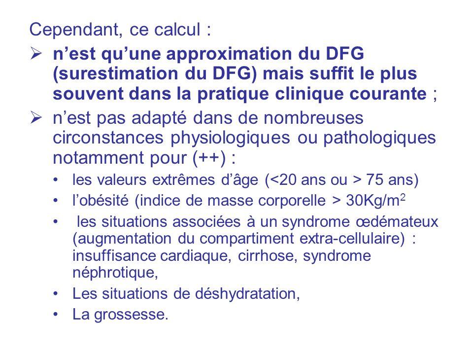 Cependant, ce calcul : n'est qu'une approximation du DFG (surestimation du DFG) mais suffit le plus souvent dans la pratique clinique courante ;