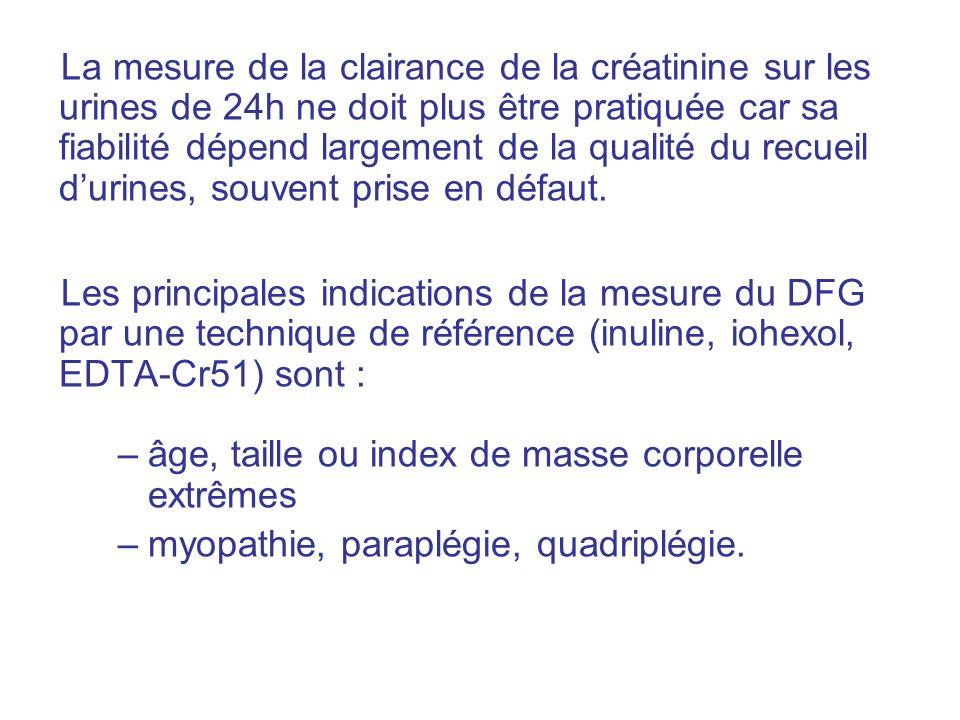La mesure de la clairance de la créatinine sur les urines de 24h ne doit plus être pratiquée car sa fiabilité dépend largement de la qualité du recueil d'urines, souvent prise en défaut.