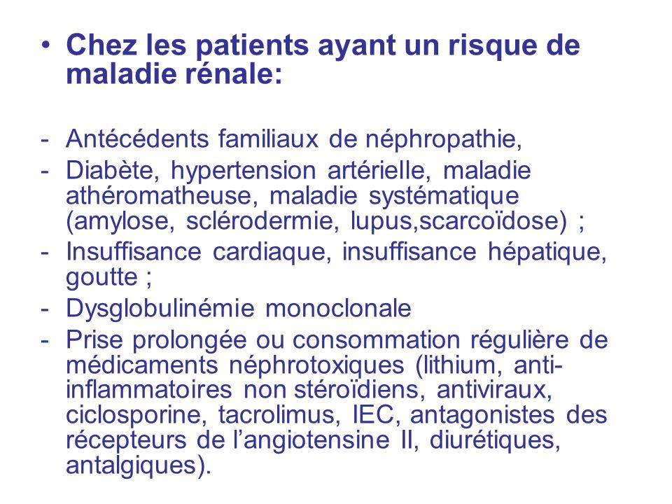 Chez les patients ayant un risque de maladie rénale: