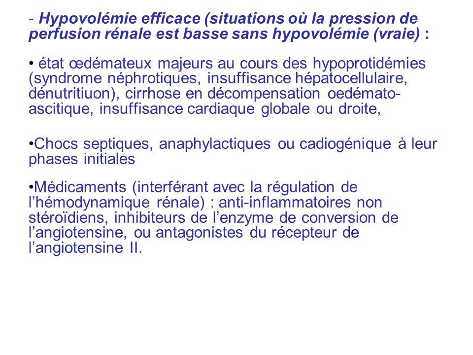 Hypovolémie efficace (situations où la pression de perfusion rénale est basse sans hypovolémie (vraie) :