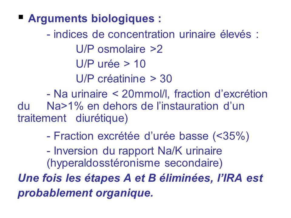 Arguments biologiques :