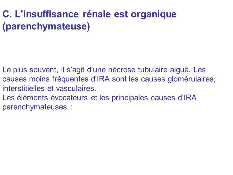 C. L'insuffisance rénale est organique (parenchymateuse)