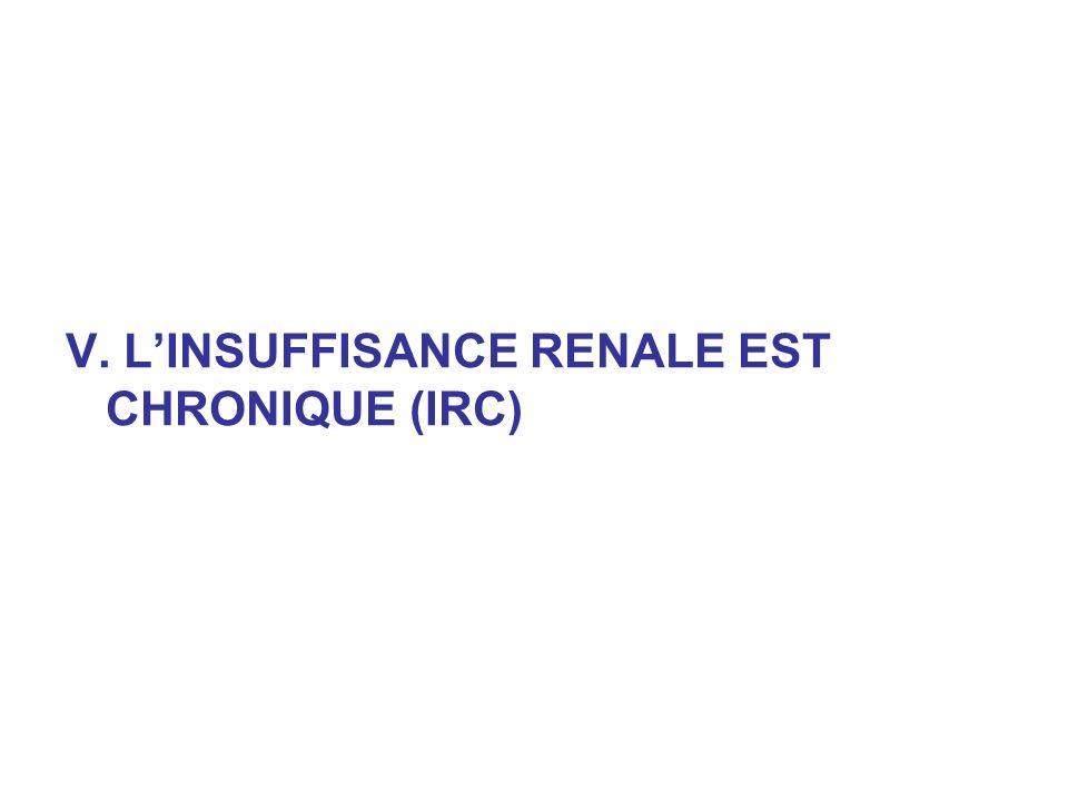 V. L'INSUFFISANCE RENALE EST CHRONIQUE (IRC)