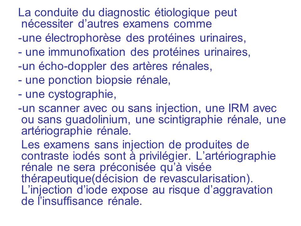 La conduite du diagnostic étiologique peut nécessiter d'autres examens comme