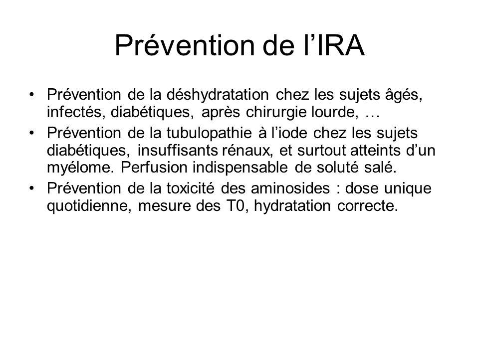 Prévention de l'IRA Prévention de la déshydratation chez les sujets âgés, infectés, diabétiques, après chirurgie lourde, …