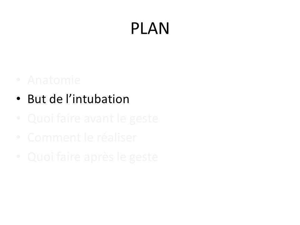 PLAN Anatomie But de l'intubation Quoi faire avant le geste