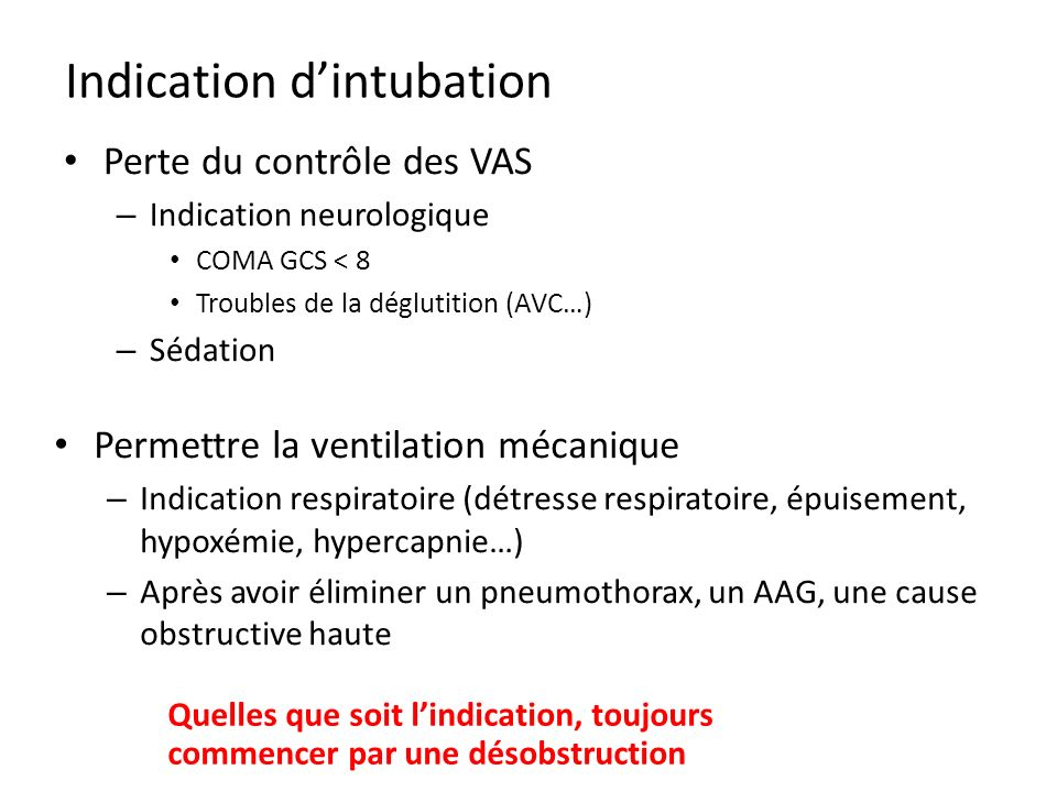 Indication d'intubation