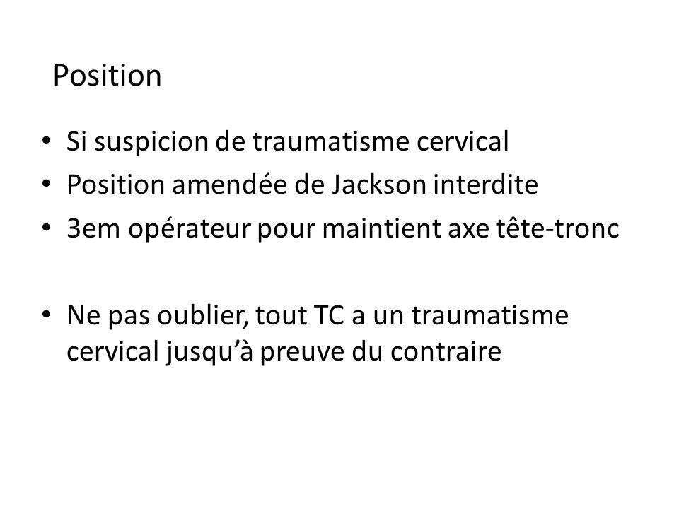 Position Si suspicion de traumatisme cervical