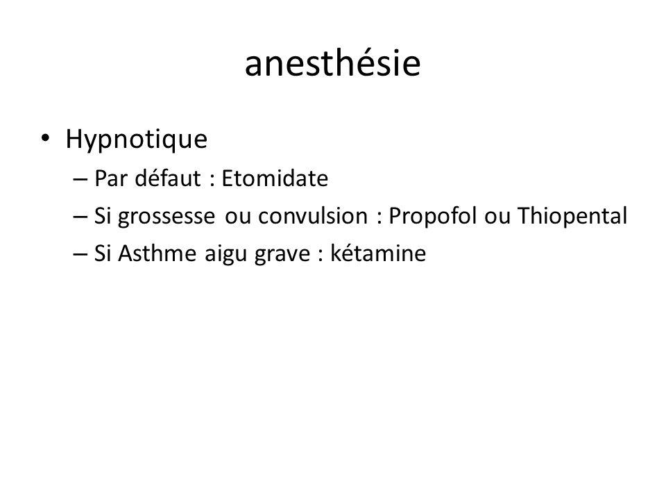 anesthésie Hypnotique Par défaut : Etomidate