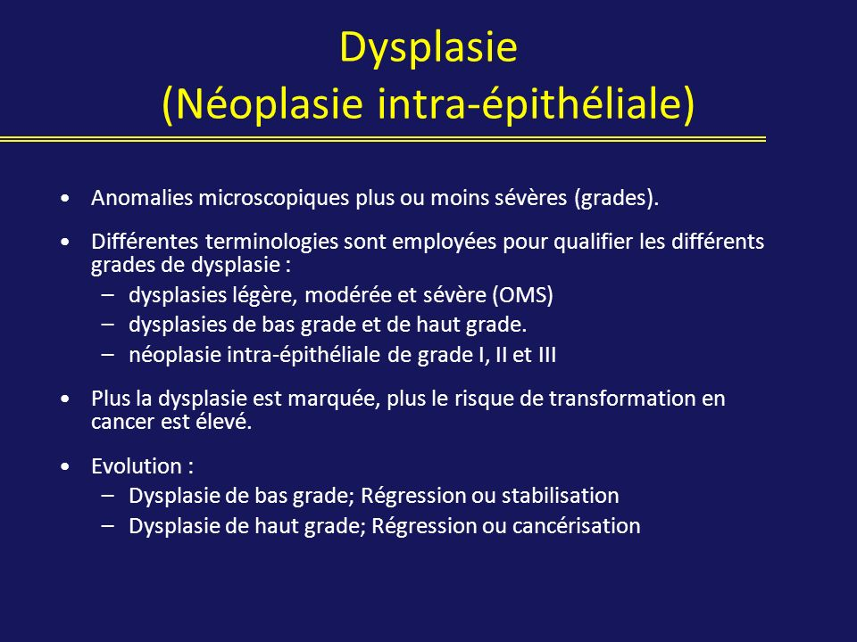 Dysplasie (Néoplasie intra-épithéliale)