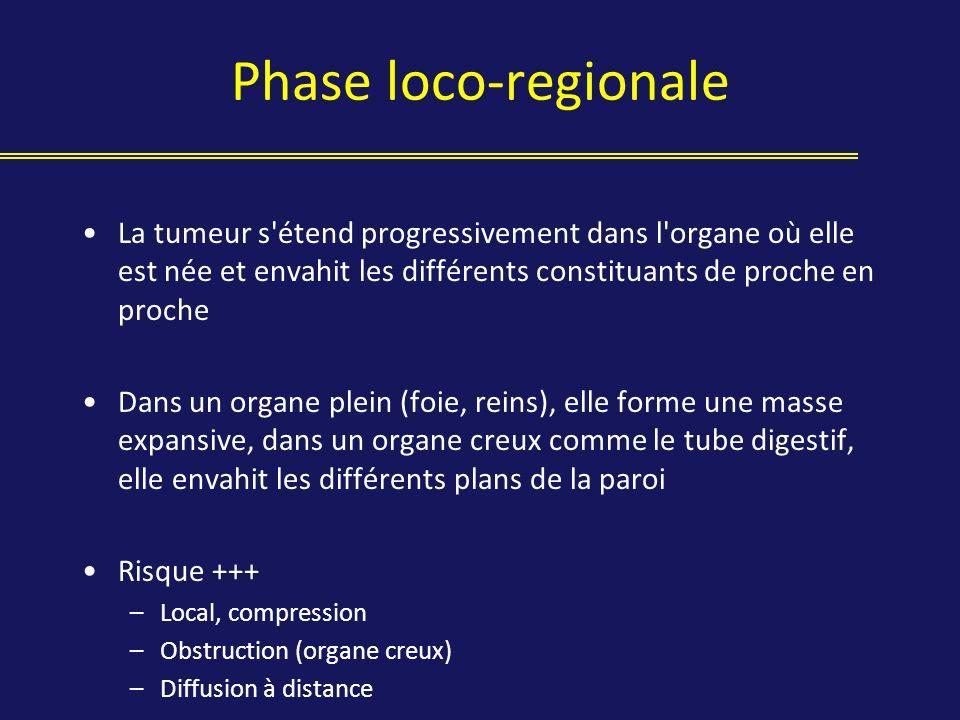 Phase loco-regionale La tumeur s étend progressivement dans l organe où elle est née et envahit les différents constituants de proche en proche.