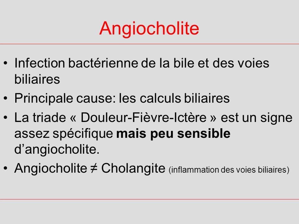 Angiocholite Infection bactérienne de la bile et des voies biliaires