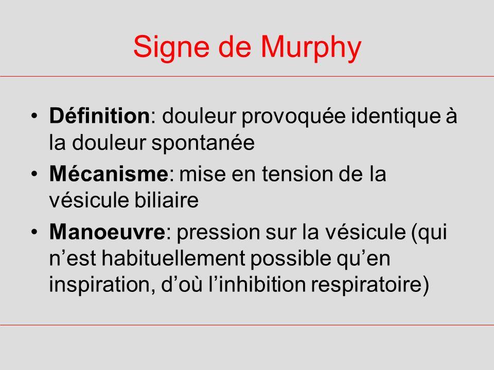 Signe de MurphyDéfinition: douleur provoquée identique à la douleur spontanée. Mécanisme: mise en tension de la vésicule biliaire.