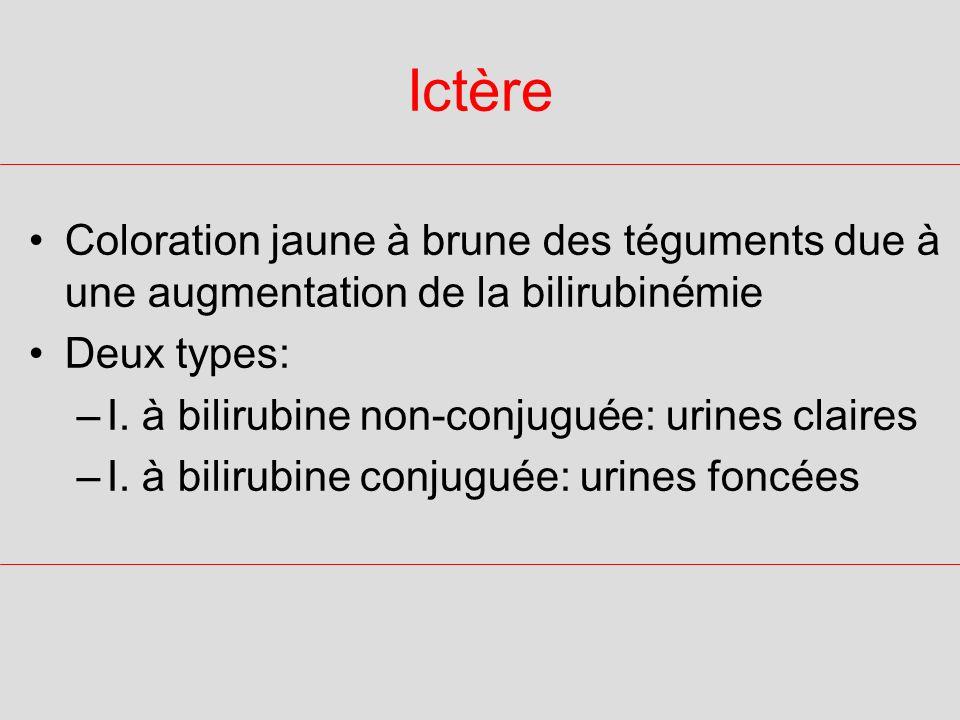 IctèreColoration jaune à brune des téguments due à une augmentation de la bilirubinémie. Deux types: