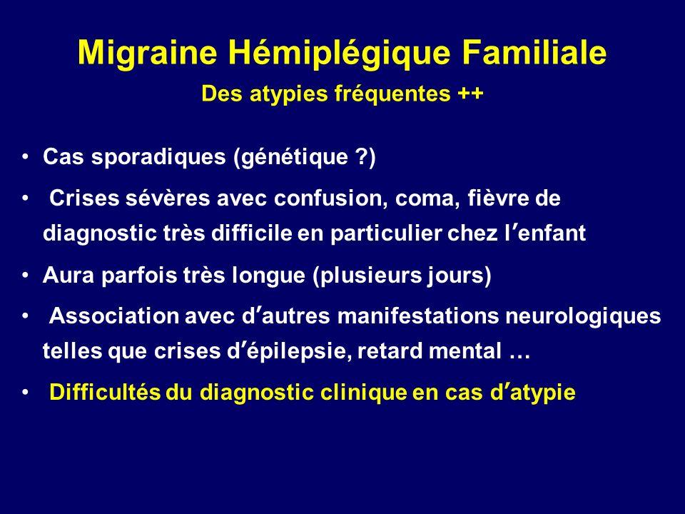 Migraine Hémiplégique Familiale Des atypies fréquentes ++