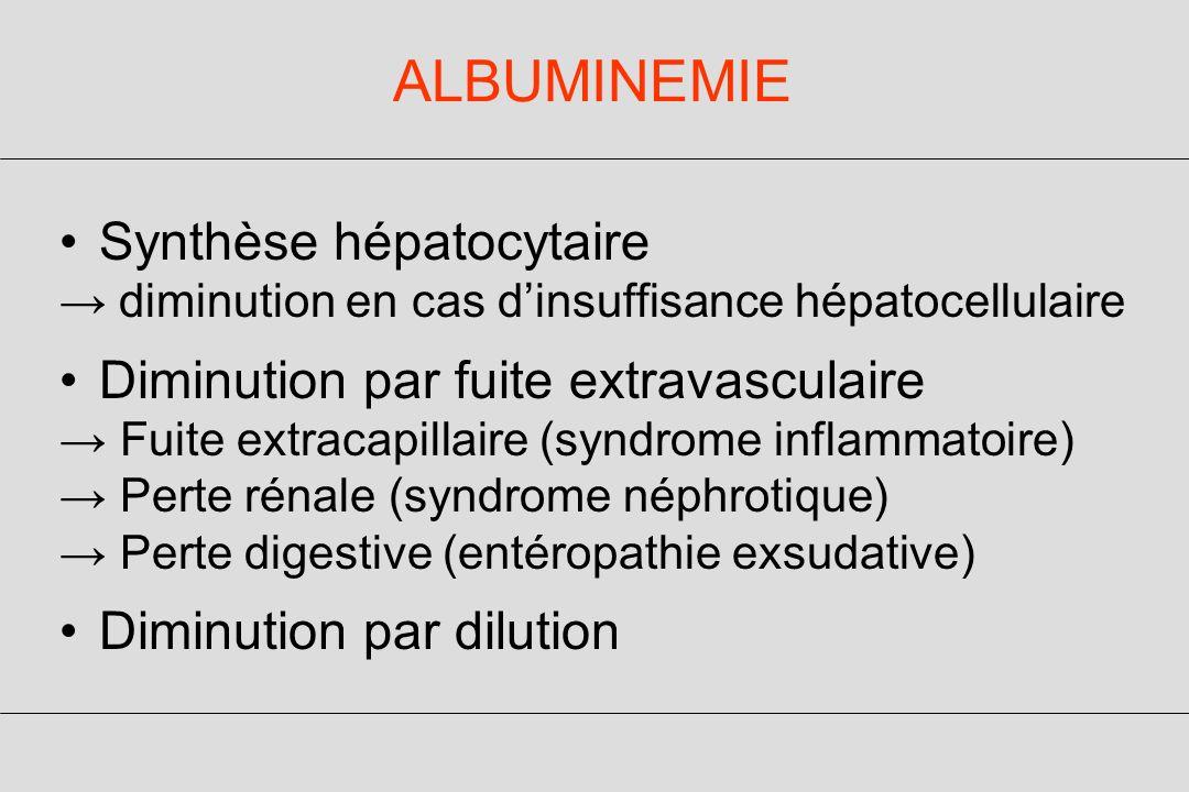 ALBUMINEMIE Synthèse hépatocytaire