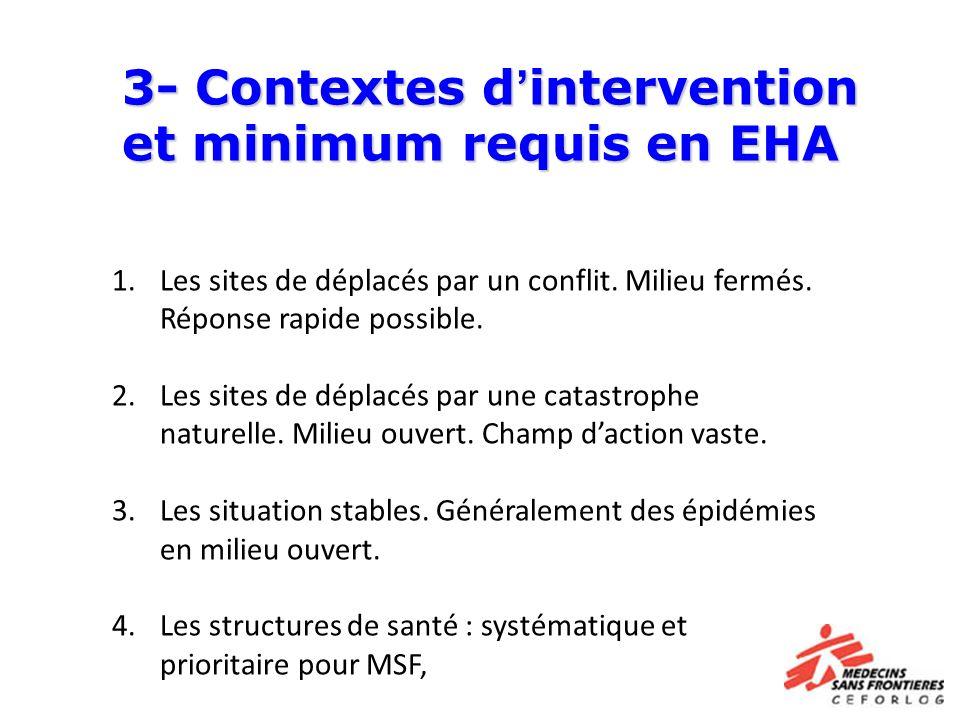 3- Contextes d'intervention et minimum requis en EHA