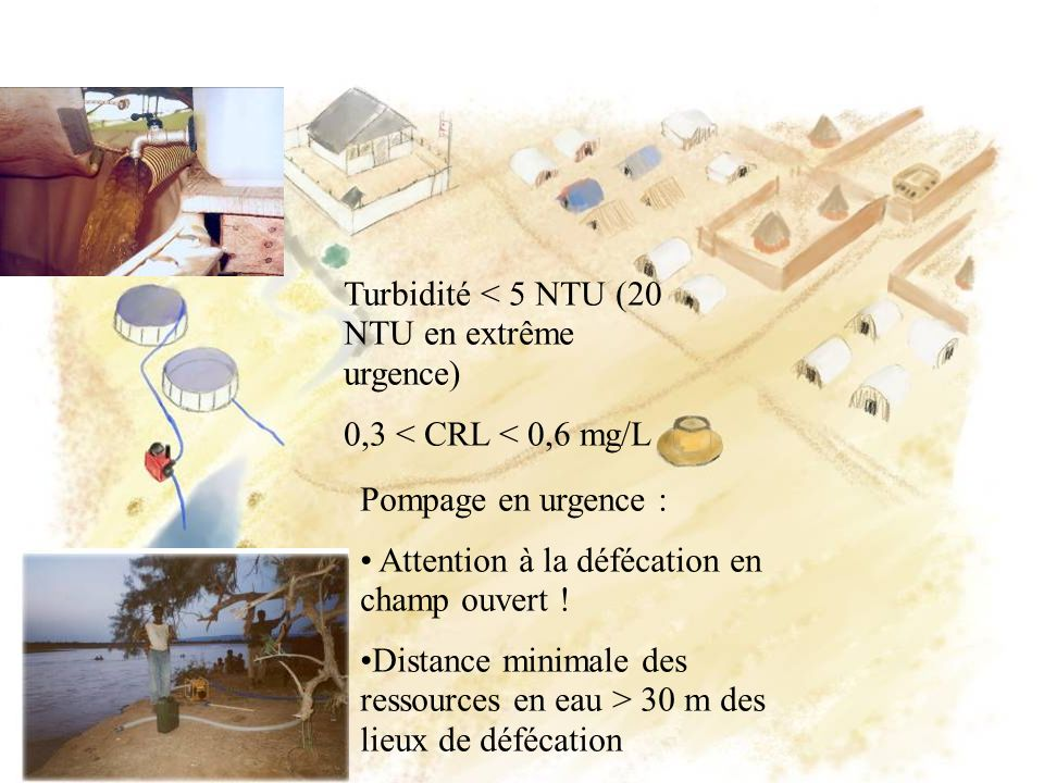 Turbidité < 5 NTU (20 NTU en extrême urgence)