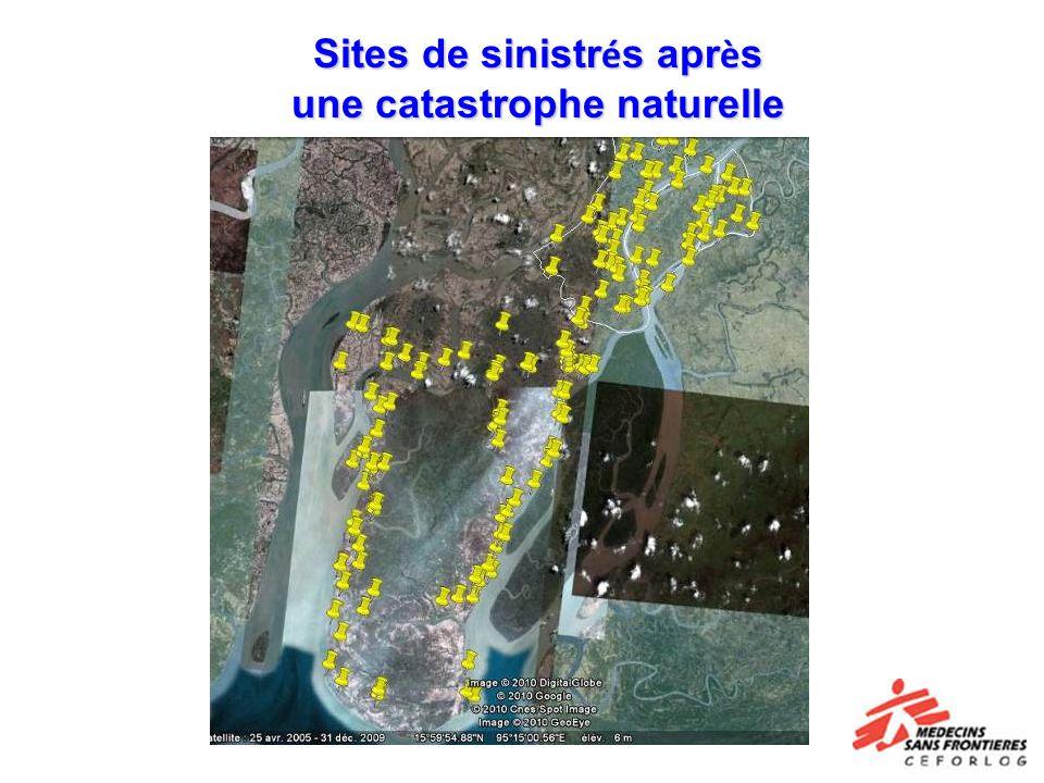 Sites de sinistrés après une catastrophe naturelle