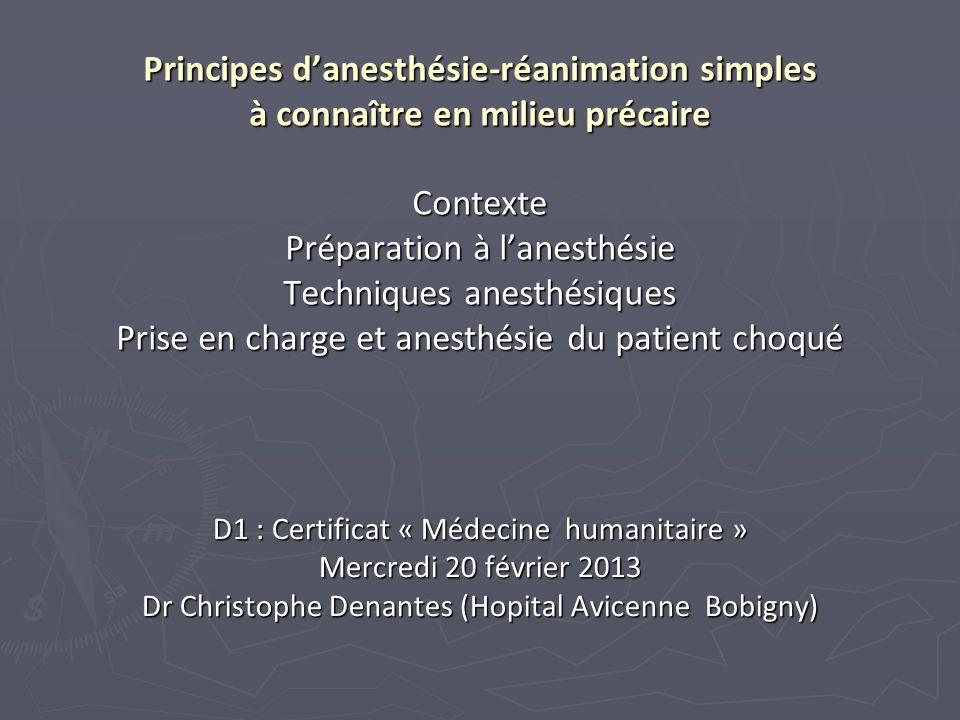 Principes d'anesthésie-réanimation simples à connaître en milieu précaire Contexte Préparation à l'anesthésie Techniques anesthésiques Prise en charge et anesthésie du patient choqué