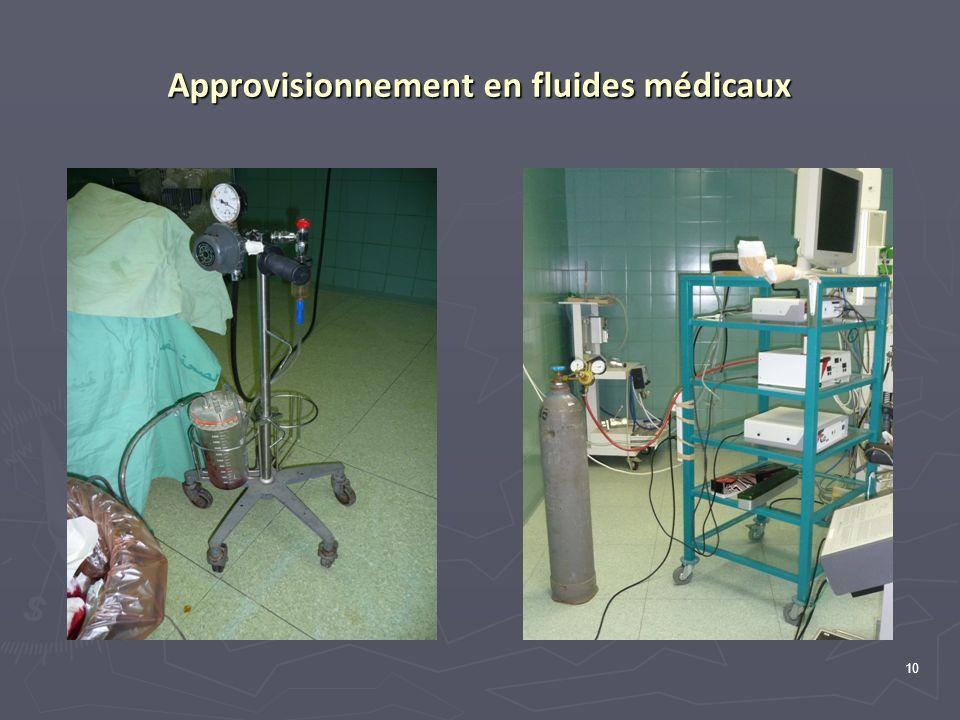 Approvisionnement en fluides médicaux