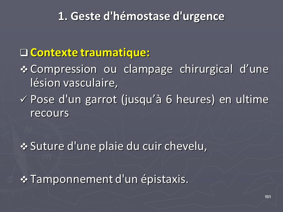 1. Geste d hémostase d urgence