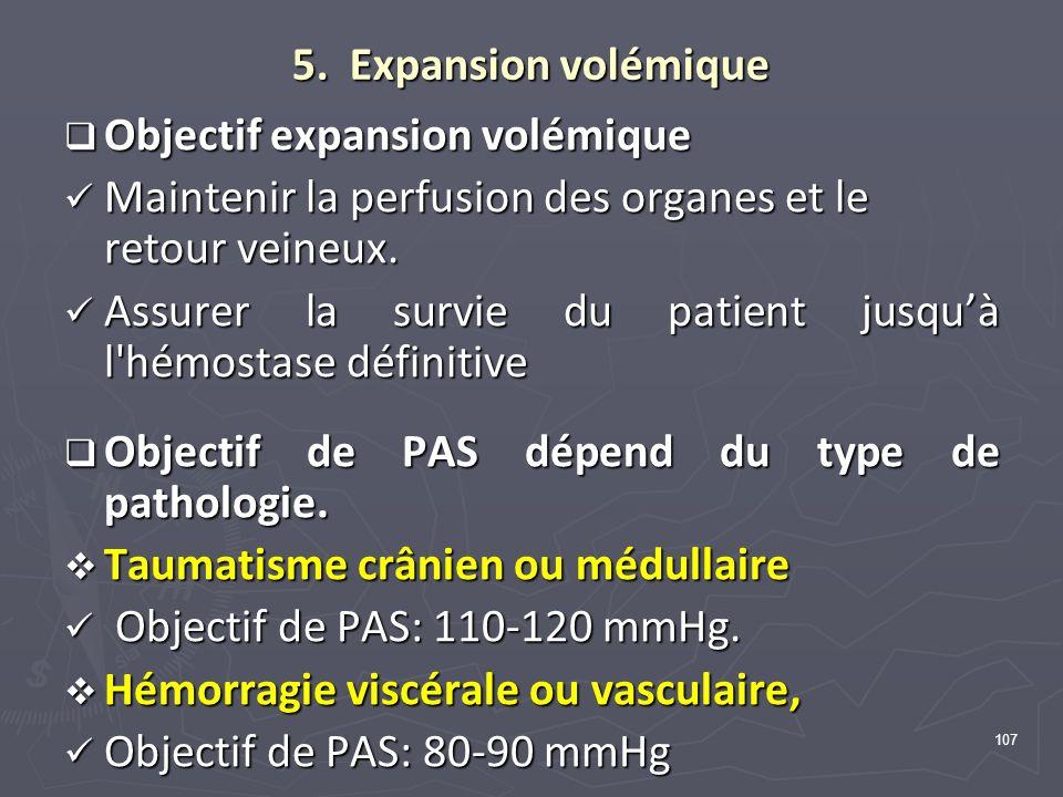 5. Expansion volémique Objectif expansion volémique. Maintenir la perfusion des organes et le retour veineux.