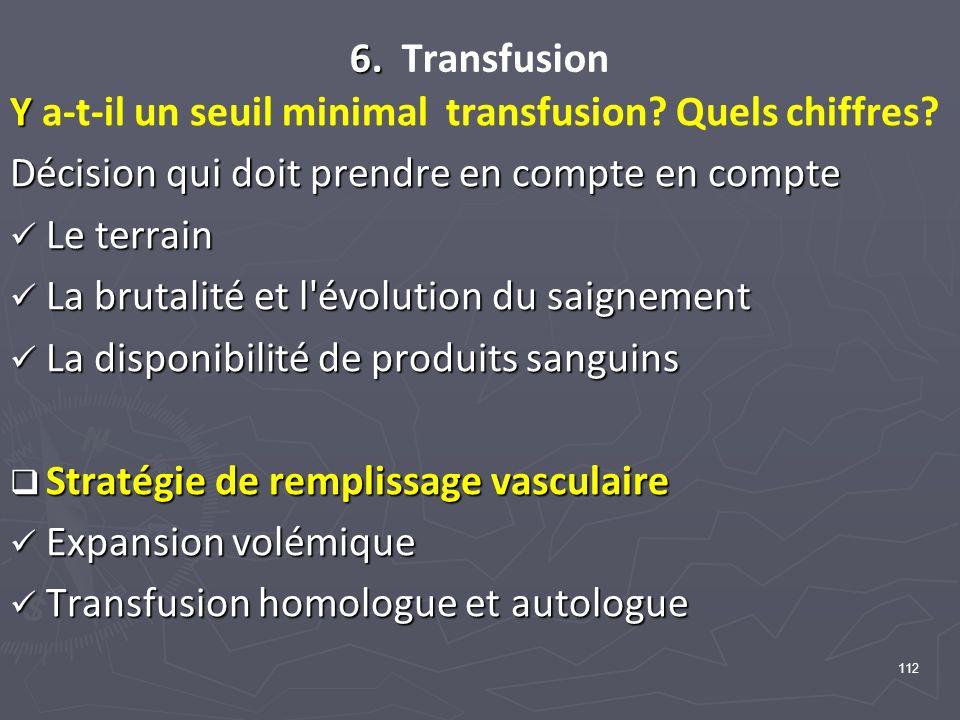 6. Transfusion Y a-t-il un seuil minimal transfusion Quels chiffres Décision qui doit prendre en compte en compte.