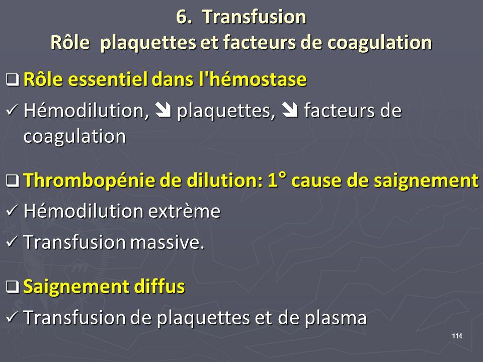 6. Transfusion Rôle plaquettes et facteurs de coagulation