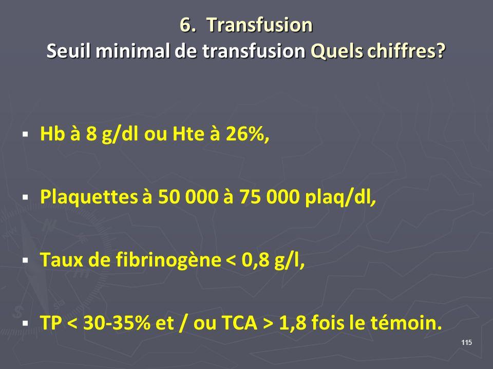 6. Transfusion Seuil minimal de transfusion Quels chiffres