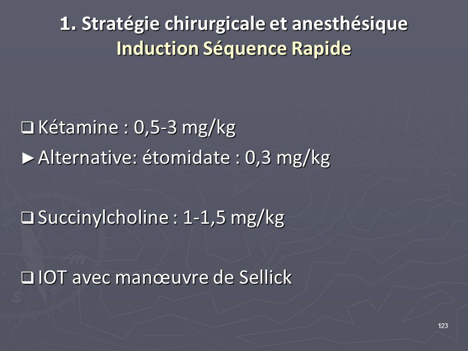 1. Stratégie chirurgicale et anesthésique Induction Séquence Rapide