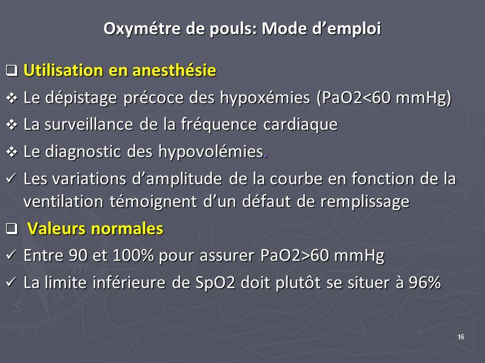 Oxymétre de pouls: Mode d'emploi