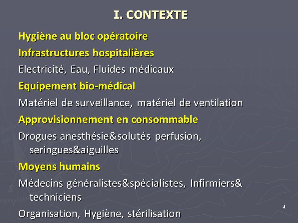 I. CONTEXTE Hygiène au bloc opératoire. Infrastructures hospitalières. Electricité, Eau, Fluides médicaux.