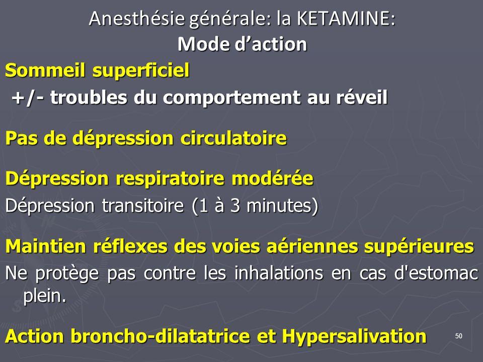 Anesthésie générale: la KETAMINE: Mode d'action