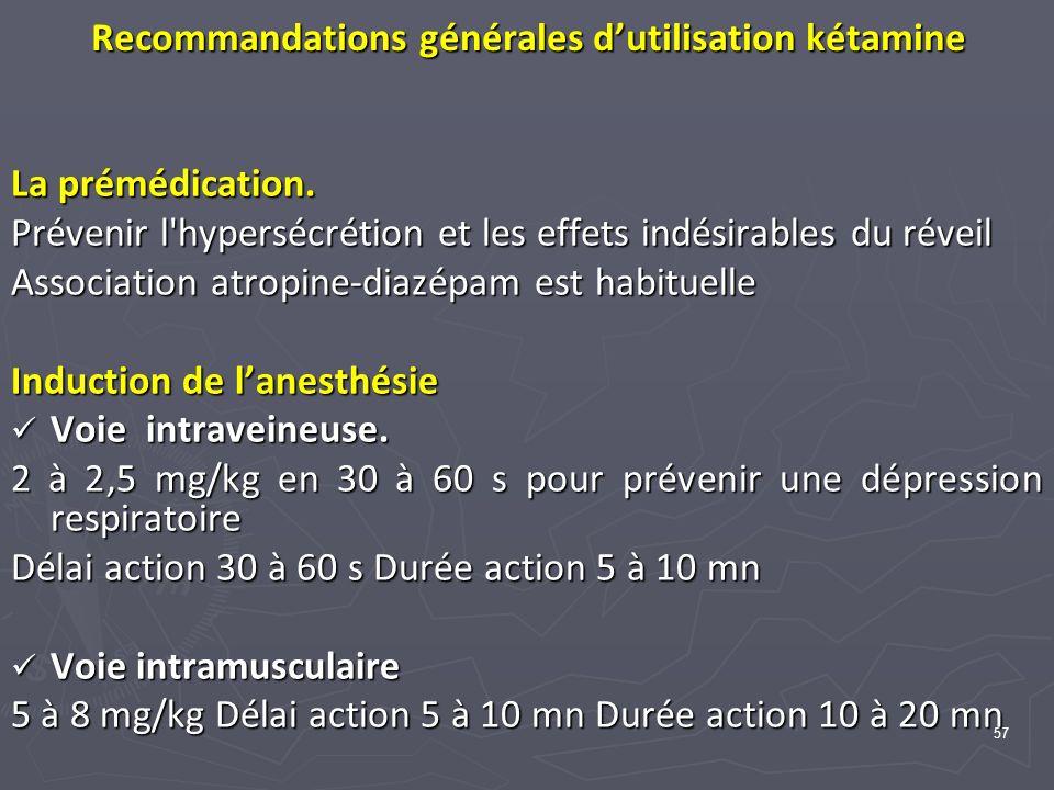 Recommandations générales d'utilisation kétamine