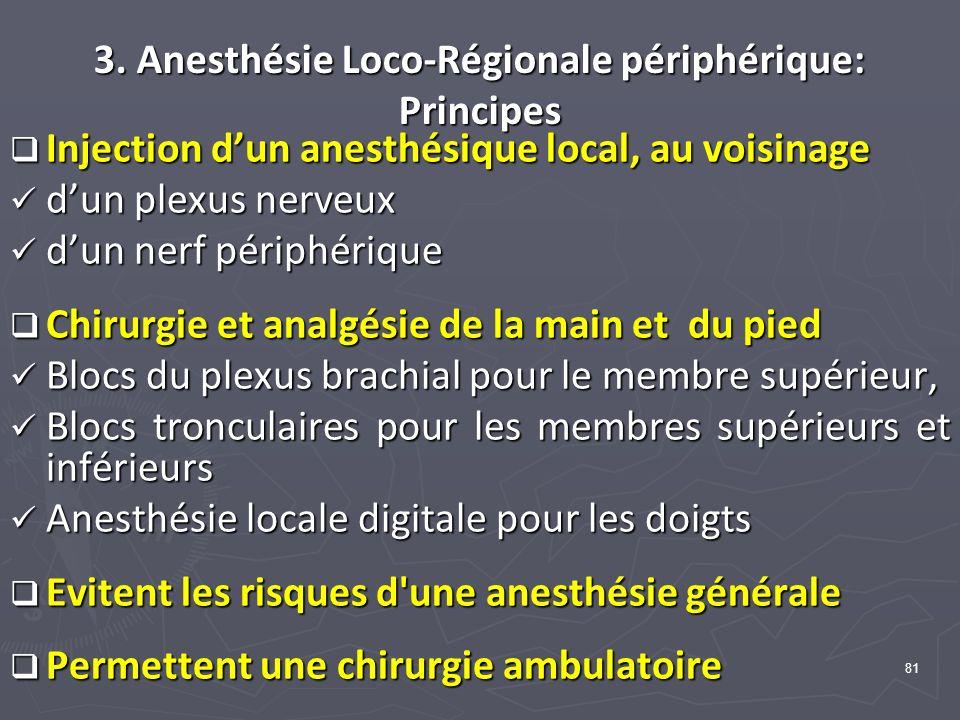 3. Anesthésie Loco-Régionale périphérique: Principes