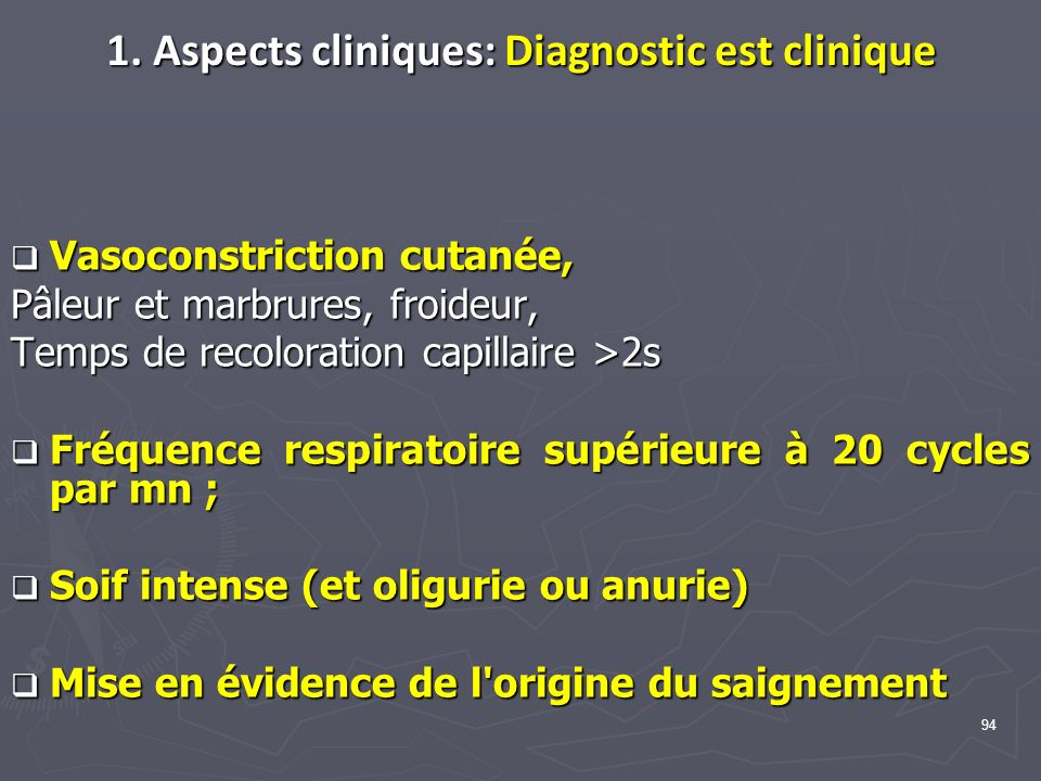 1. Aspects cliniques: Diagnostic est clinique