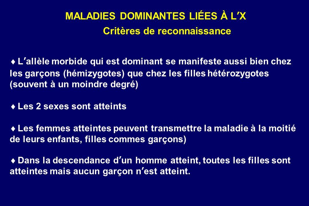 MALADIES DOMINANTES LIÉES À L'X Critères de reconnaissance