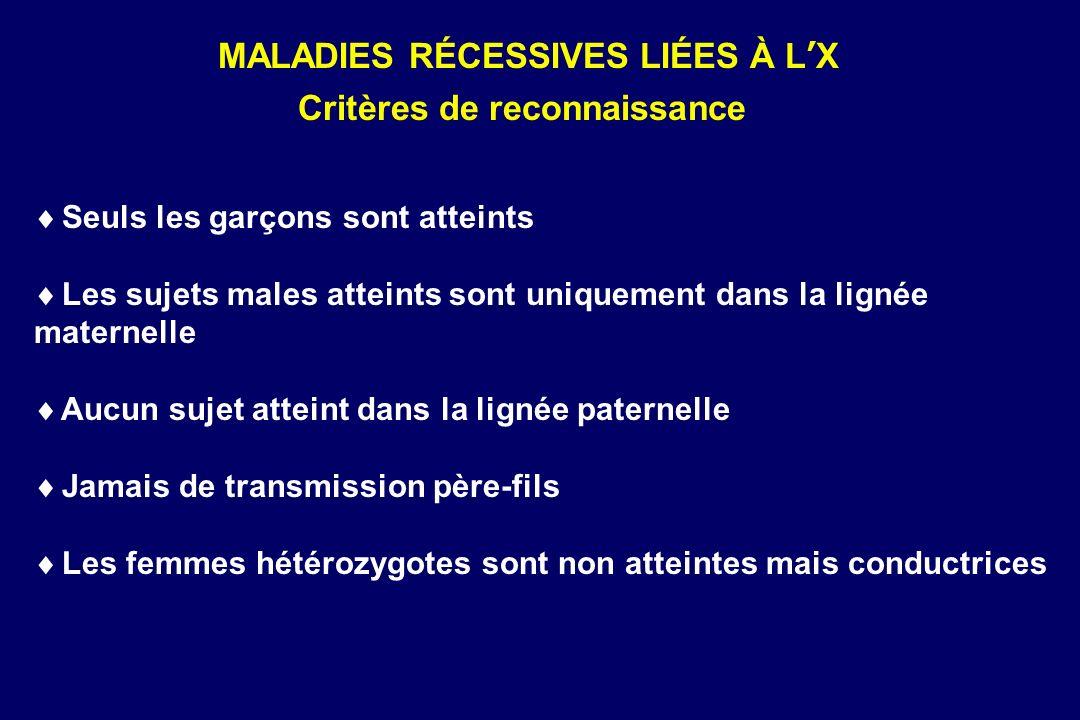 MALADIES RÉCESSIVES LIÉES À L'X Critères de reconnaissance