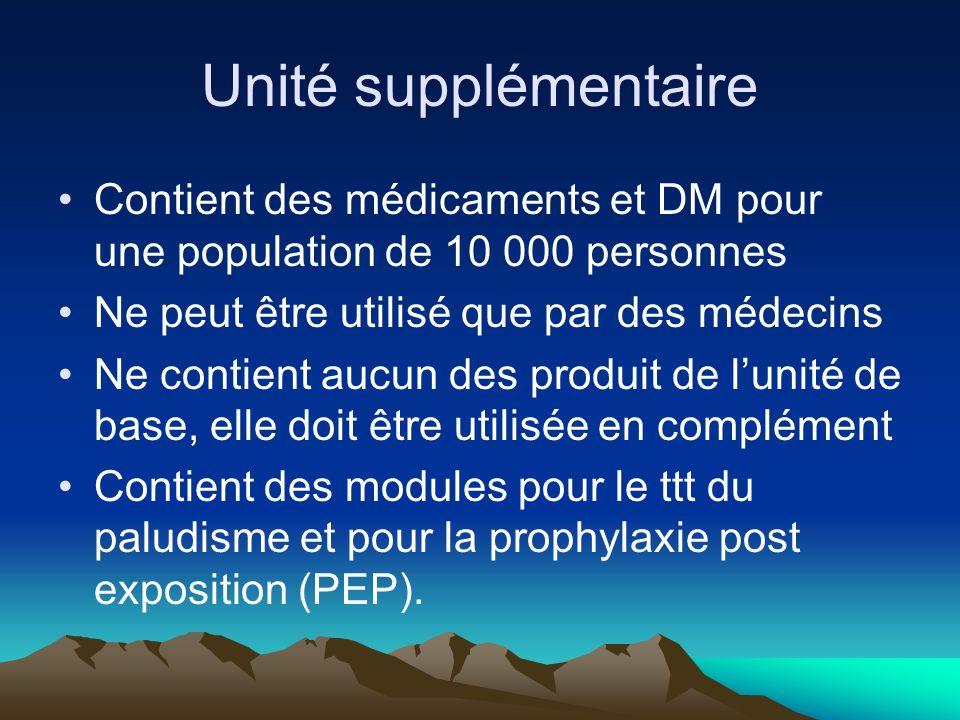 Unité supplémentaire Contient des médicaments et DM pour une population de 10 000 personnes. Ne peut être utilisé que par des médecins.