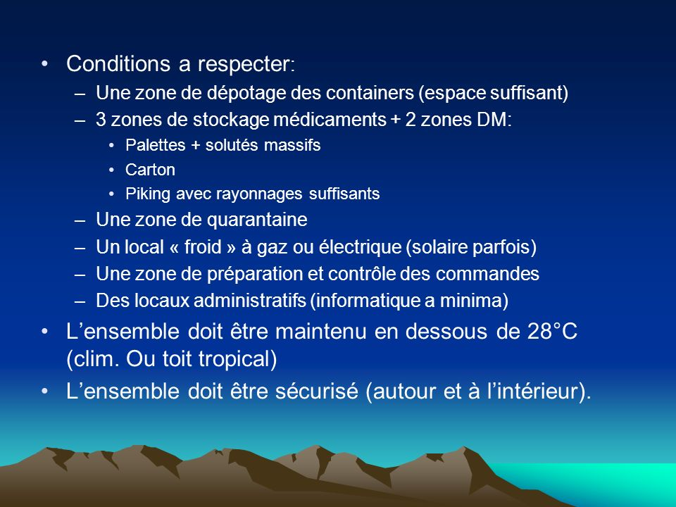 Conditions a respecter: