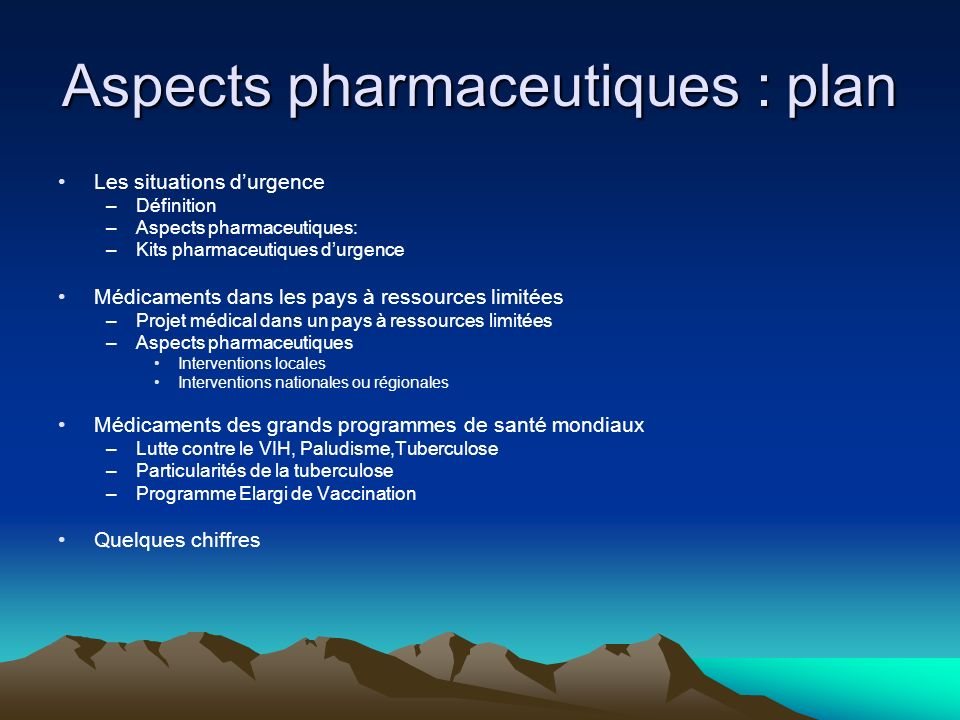 Aspects pharmaceutiques : plan