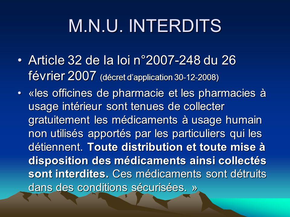 M.N.U. INTERDITS Article 32 de la loi n°2007-248 du 26 février 2007 (décret d'application 30-12-2008)