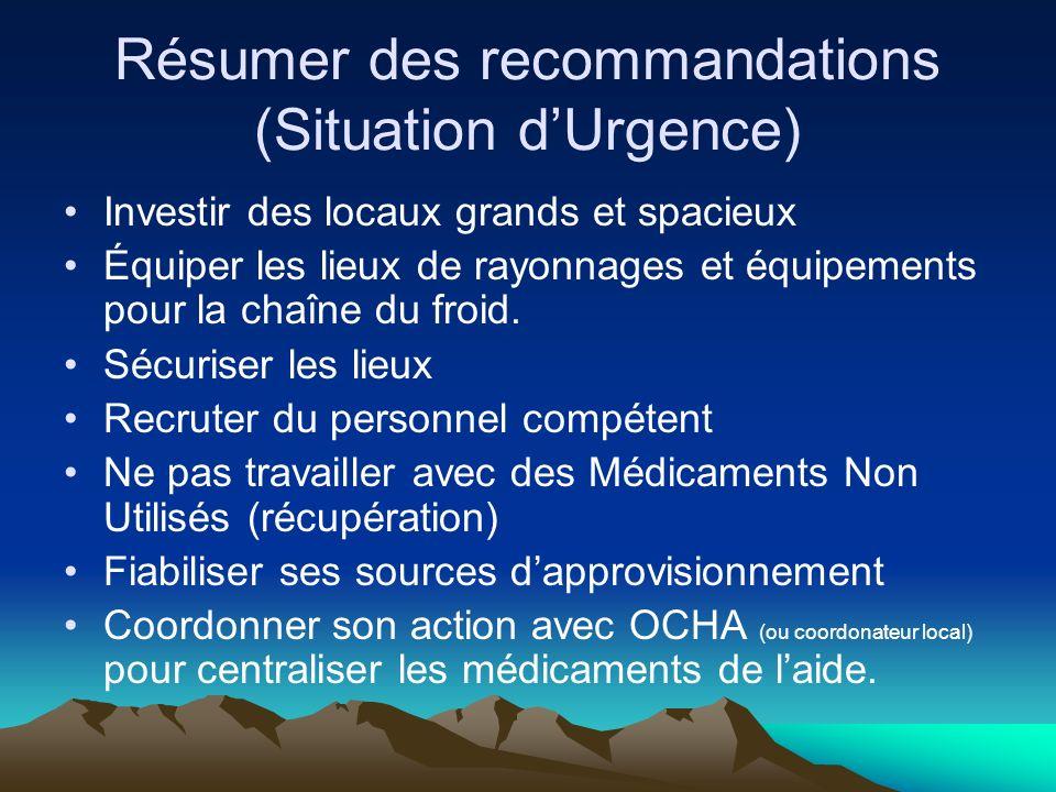 Résumer des recommandations (Situation d'Urgence)