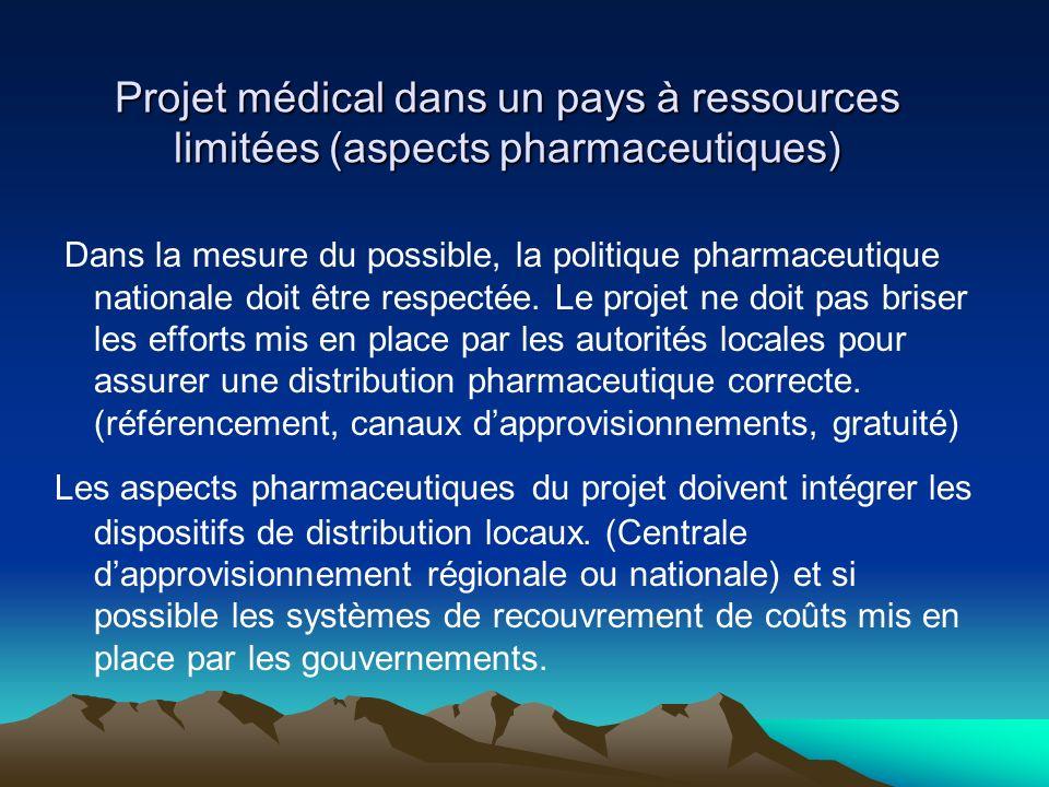 Projet médical dans un pays à ressources limitées (aspects pharmaceutiques)