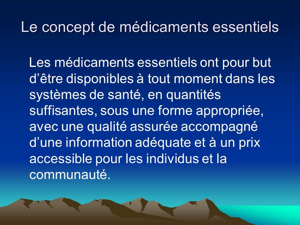 Le concept de médicaments essentiels