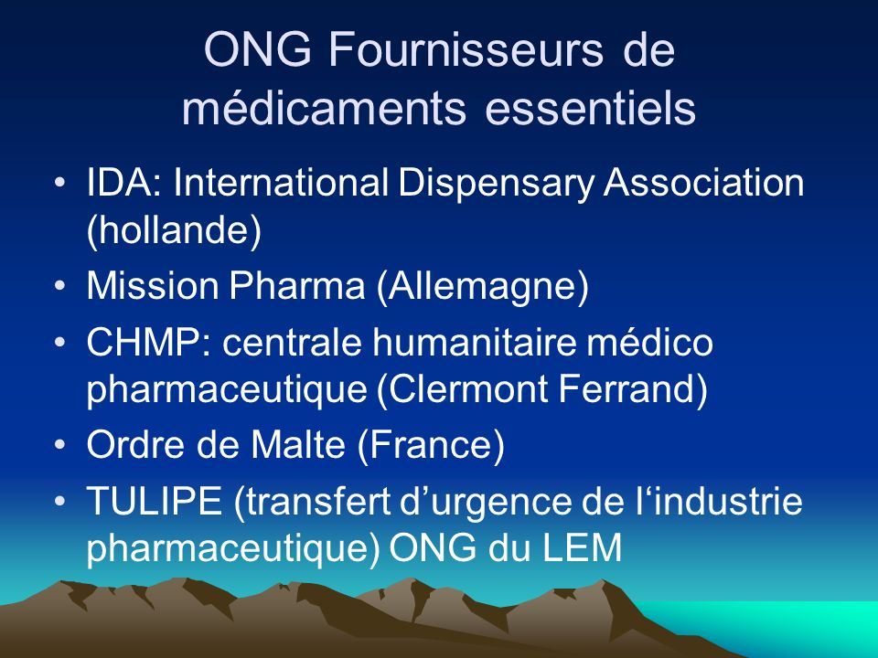 ONG Fournisseurs de médicaments essentiels