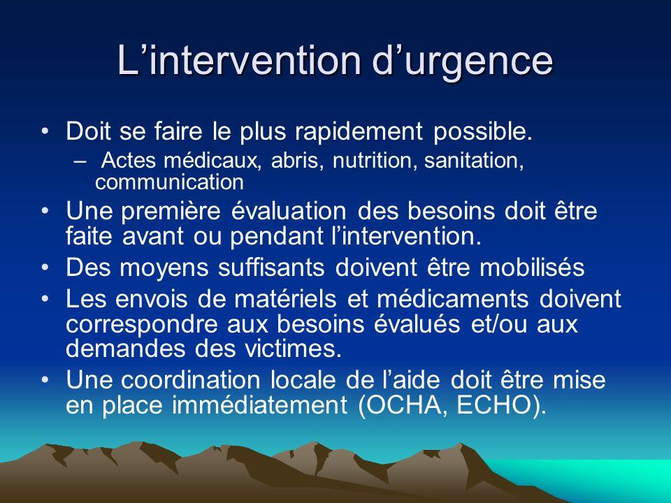 L'intervention d'urgence